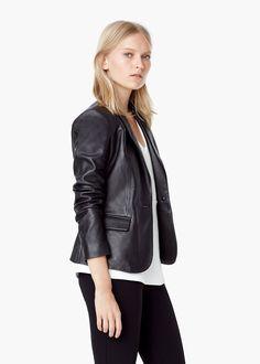 Leather blazer - Jackets for Women | MANGO