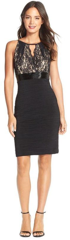 Lace & Jersey Cocktail Dress. women fashion outfit clothing stylish apparel @roressclothes closet ideas