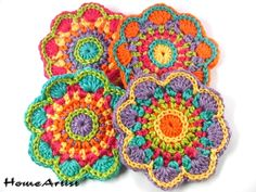 Crocheted Applique – Crochet Applique Embellishments Flower Free colors – a unique product by HomeArtist on DaWanda