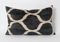Black Ikat Pillow  Silk Velvet Ikat White Black Throw by pillowme, $65.00