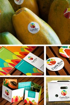 Costa Rica Fruit Company Logo by Marianella Snowball, via Behance.  This is really nice carrying the colors and the brand across multiple branding platforms.