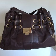 Authentic Jimmy Choo Handbag Price drop!!! Authentic Jimmy Choo Shoulder Bag in Chocolate. Has a tiny tear inside but otherwise in excellent condition Bags Shoulder Bags