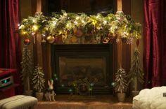 Christmas fireplace mantle lights
