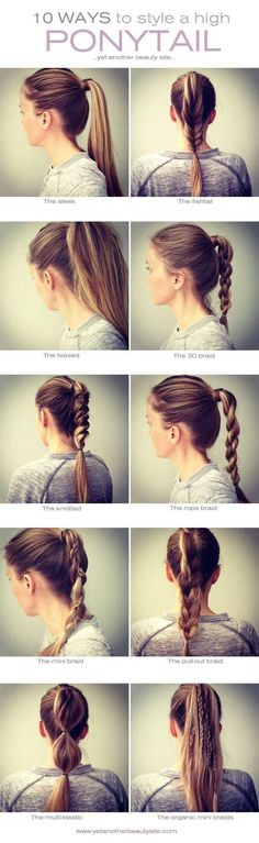 10 ways to style a high ponytail #Hairstyle, this is my life. at least now i can attempt to switch it up.