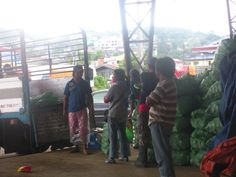 Vegetables are hauled in drop off points in Puguis ready for distribution.