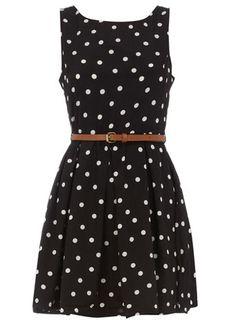 black polka dot belted dress