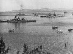 June 11, 1940: Gneisenau (foreground), Admiral Hipper (center) and Scharnhorst (background) at Trondheim,  Norway.