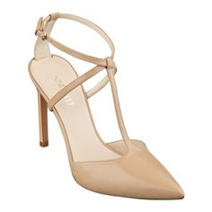NINE WEST - Tixilated T-strap pumps feature an exquisite pointy toe, plus an adjustable ankle strap with golden buckle closure. Padded footbed for all-day comfort. Man-made lining and sole. T Strap Sandals, Ankle Strap, Pumps Heels, High Heels, Bridesmaid Shoes, 4 Inch Heels, Unique Outfits, Wedding Shoes, Wedding Attire