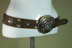 River Island brown studded diamante leather fashion belt large buckle XL R15030 #style #fashion #love #woman #chic #eBay #BELT #sangriasuzie