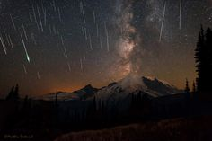 Taken during the 2015 Perseid meteor shower in August - at Mount Rainier National Park - by Matt Dieterich.  He calls the photo 'Skyfall.'