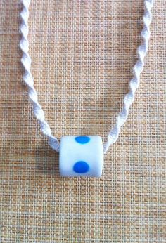 Pale Blue Dot Porcelain Bead and Macrame Necklace by ByeByeBelle
