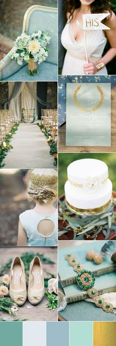 pale blue wedding inspiration with gold foil wedding invites