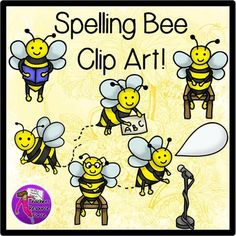 Spelling bee clip art (color  black line). Get your hands on these cute bee clip art images, perfect for spelling bee resources!