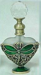 Passiflora Mini Green Heart Perfume Bottle with Jeweled Dragonfly