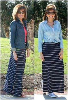 It's Day 19 of my 28 Days of Spring Fashion and today I'm styling One Maxi Skirt, Two Ways. #ootd #whaitwore #springfashion #graceandbeautystyle #oldnavystyle