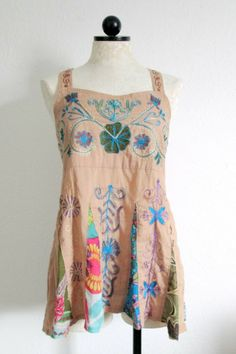 BLUE SKY Tan Brown Embroidered Floral Boho Hippie Pleated Shirt Top- L
