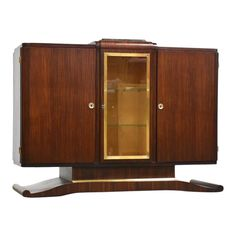 An exquisite mahogany Art Deco sideboard credenza with a glass door and brass bordered frame, adjustable shelves, black portoro marble top for mixi. Blue Chests, Modern Buffet, Art Deco Furniture, Marble Top, Adjustable Shelving, Glass Door, Sideboard, Art Nouveau, Mid-century Modern