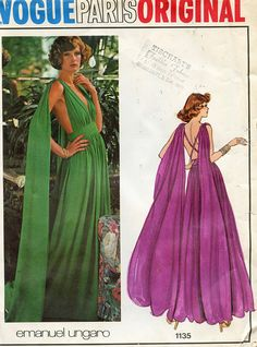 Vogue 1135 SEXY EVENING GOWN Cocktail Dress Pattern Emanuel Ungaro Vogue Paris Original UNCuT Size 8 Bust 31 32 Womens Sewing Patterns