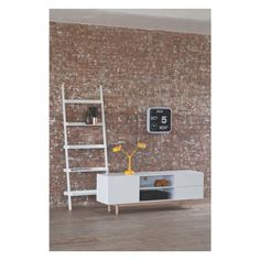 JESSIE White wide leaning bookcase