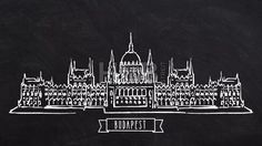 Budapest Parliament self drawing lines by Hebstreit #linedrawing #selfdrawing #lines #pen #chalkboard #chalk #footage #hebstreit