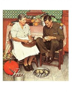 Norman Rockwell - Thanksgiving - Vintage Art Print - Rockwell Book Plate, Book Print - Saturday Evening Post Cover - 1945 by VickiesVintage for $10.00