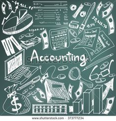 Accounting and financial education handwriting doodle icon of banknote, money, balance sheet and cost and revenue sign in blackboard background for business presentation title with text (vector)
