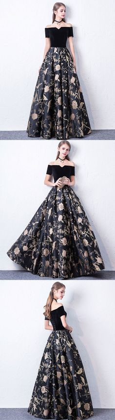 Black off shoulder long prom dress, black evening dress M1100