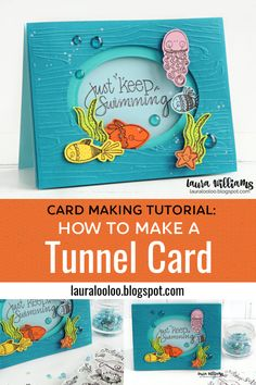 How to Make a Handmade Tunnel Card with underwater sea creature stamps from Impression Obsession Card Making Templates, Card Making Tips, Card Making Tutorials, Card Making Techniques, Making Ideas, Fun Fold Cards, Pop Up Cards, Folded Cards, Slider Cards