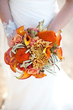 Did we just pick up the floral elements off the table and lump them together? The poor Calla Lily are scattered trying to compete with large Protea. Power in numbers. power in numbers. This is a train wreck. Orange Wedding Flowers, Bridal Flowers, Floral Wedding, Orange Weddings, Orange Flowers, Autumn Wedding, Our Wedding, Wedding Ideas, Wedding Themes