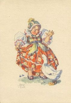 Marie Kvechova-Fischerova Vintage Cards, Vintage Postcards, Holiday Postcards, Vintage Easter, Vintage Pictures, Vintage Advertisements, Pet Birds, Paper Dolls, Illustration Art