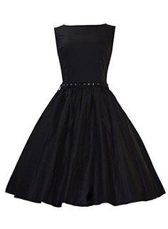 Anni Coco Women's 50's Audrey Hepburn Rockabilly Vintage Dresses Black Medium Anni Coco http://www.amazon.com/dp/B00VE7U3YG/ref=cm_sw_r_pi_dp_.Plnvb039JSXB