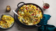 This lamb biryani is real centre-piece dish, but it's actually easy as anything to make. Serve garnished with pomegranate seeds for a special touch. Lamb Biryani Recipes, Lamb Recipes, Indian Food Recipes, Ethnic Recipes, Yummy Recipes, Slow Cooked Lamb, Spinach Curry, Lamb Curry, Just Cooking