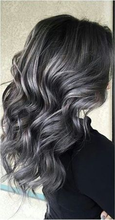 Soft smokey silver/grey highlights on dark hair ♡