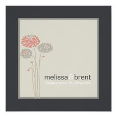 Engagement Party Invitation Cream and Black Floral