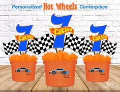 Hot Wheels Personalized Centerpiece l KidsPartyWorks. Car Centerpieces, Birthday Centerpieces, Festa Hot Wheels, Hot Wheels Party, Cars Birthday Parties, 5th Birthday, Themed Parties, Birthday Ideas, Hot Wheels Birthday