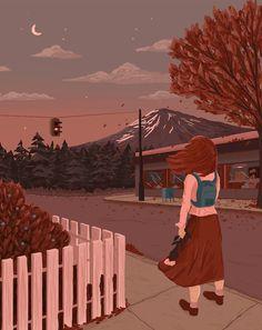 the moonlight chess society; Art Anime Fille, Anime Art Girl, Art And Illustration, Pixel Art, Gif Bonito, Beau Gif, Art Mignon, Nature Gif, Beautiful Gif