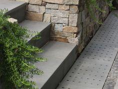 Eco Outdoor custom bluestone drainage grates and steps, design by Earthtone. Eco…