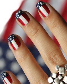 Cute flag nail design.