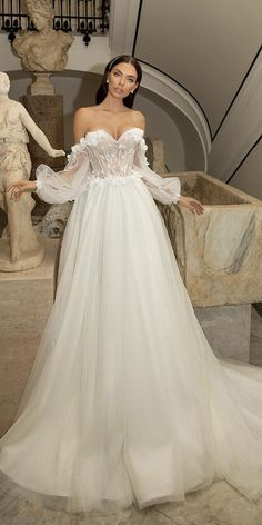 42 Off The Shoulder Wedding Dresses To See ❤  off the shoulder wedding dresses a line sweetheart neckline with long sleeves luce_sposa #weddingforward #wedding #bride Minimalist Wedding Dresses, Classic Wedding Dress, Gorgeous Wedding Dress, Glamorous Wedding, Bodice Wedding Dress, Elegant Ball Gowns, Italy Wedding, Wedding Bows, Bridal Collection