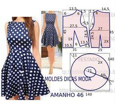 Passo a passo construção molde de vestido. O molde de vestido encontra-se no tamanho 46. A ilustração do molde de vestido não tem valor de costura.: