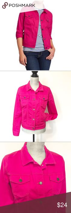 """Old Navy The Rock Star Hot Pink Jean Jacket Medium OMG! Love this super trendy jacket! I wish it would fit me! It is feminine & makes the perfect fashionista statement! Has a very small stain by the second button but it can be easily removed after wash. Almost not noticeable.   Approximate measurements: Width: 18"""" Length 21""""  ✅All items in my closet are either NEW or in excellent condition - any signs of wear are minimal and will be detailed on pictures and description. ✅ Very clean and…"""