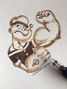 #Popeye #Pyrography #art on watercolour paper. door TimberleePyrography