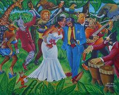 """peinture à l'huile sur toile du peintre congolais (Kinshasa) MOUSCOU-""""M"""". sbd Art 2014 MOUSCOU-""""M"""""""