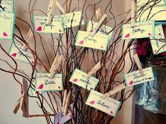 Name Tag Tree for Bridal Shower but also with how many years you've know the bride and if you are family or bridal party.
