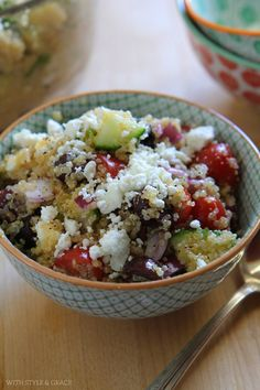 Healthy Greek Quinoa Salad, Gluten-free for National Nutrition Month Greek Recipes, Real Food Recipes, Cooking Recipes, Cooking Tips, Gluten Free Recipes, Vegetarian Recipes, Healthy Recipes, Greek Quinoa Salad, Quinoa Food