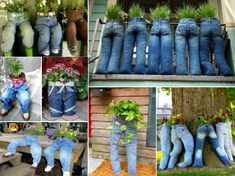 How to DIY Fun Recycled Jean Planter, nice personalized whimsical garden decoration. Check out more -> http://www.fabartdiy.com/how-to-diy-fun-recycled-jean-planter/ #diy, #gardening, #jeans, #planter