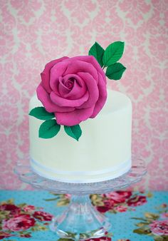 Fuchsia Rose Cake Topper