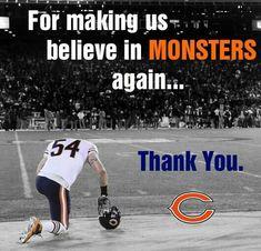 Thank you, Brian Urlacher - Chicago Bears Chicago Bears Baby, Nfl Bears, Bears Football, Chicago Blackhawks, Chicago Bulls, Chicago Chicago, Baseball Tips, Better Baseball, Baseball Cards