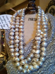 Triple strand Baroque pearl necklace found @ The French Nest - Sonoma, CA