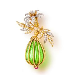 A diamond, ruby and enamel 'eggplant' brooch, Jean Schlumberger, Tiffany & Co.,